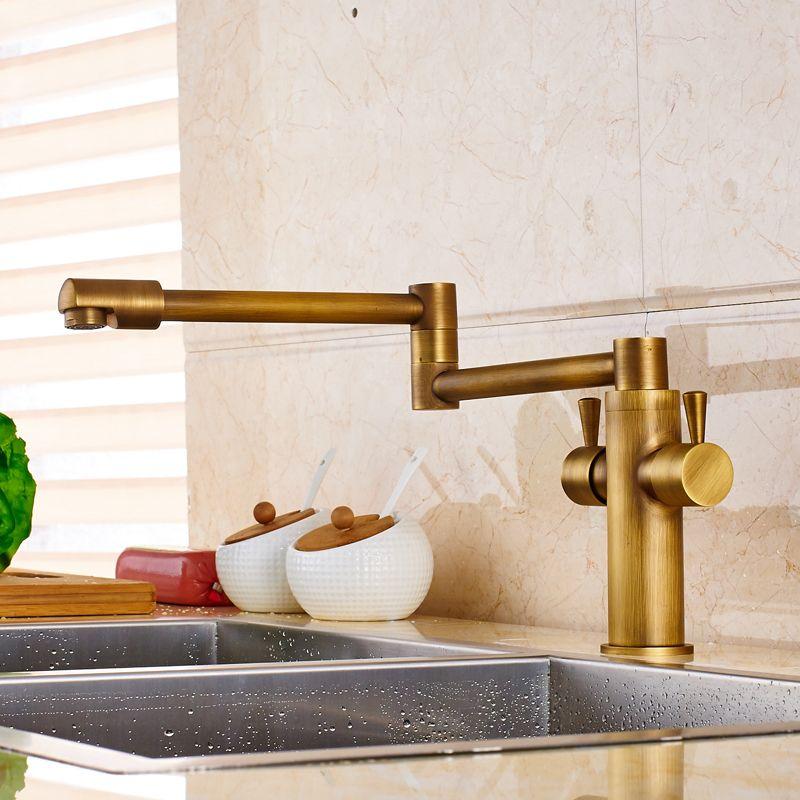 63 60 Brass Antique Dual Handle Bathroom Kitchen Sink Faucet