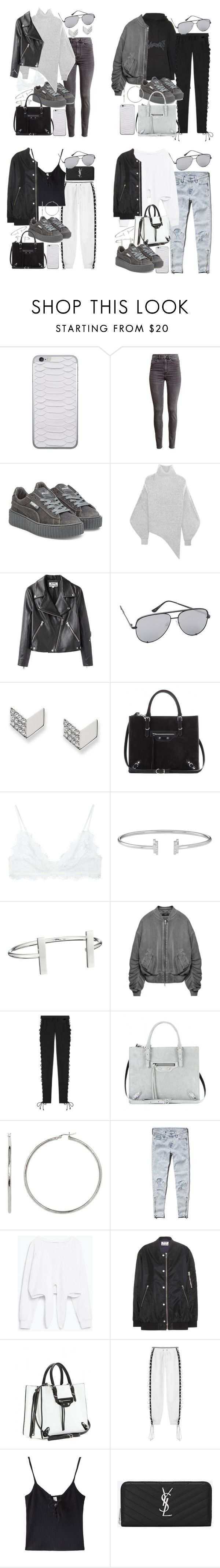 """""""how to style fenty velvet creepers"""" by florencia95 ❤ liked on Polyvore featuring Jamie Clawson, H&M, Puma, STELLA McCARTNEY, Acne Studios, Quay, FOSSIL, Balenciaga, Anine Bing and French Connection"""