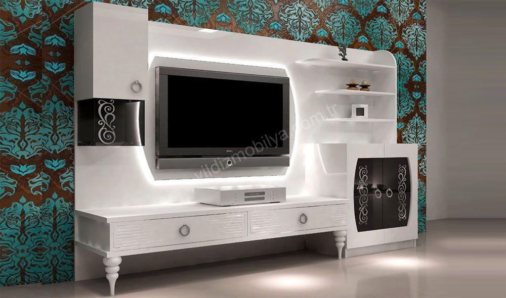 Enzo Tv Unitesi Mobilya Modern Kitaplik Furniture Yildizmobilya