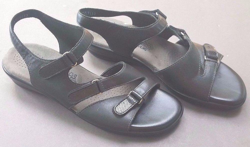 256409069971 SAS Tabby Sandal Black Leather Tripad Comfort Made in USA Size 10 M  SAS