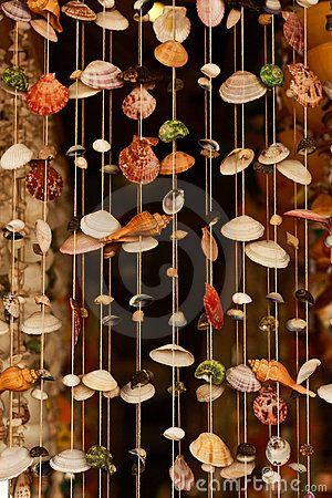 Seashell Pattern Curtain Stock Photo