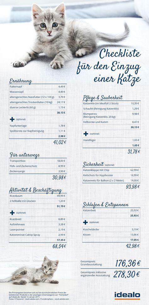 bersicht und checkliste f r die erstausstattung einer katze k tzchen pinterest checkliste. Black Bedroom Furniture Sets. Home Design Ideas