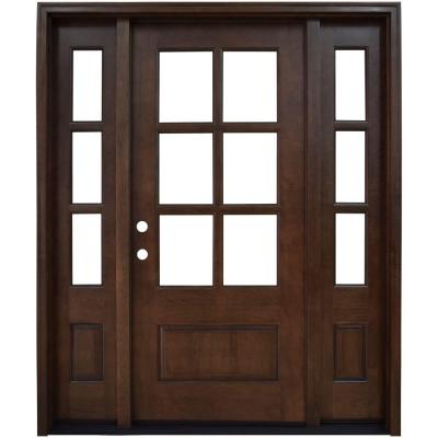 Steves Sons 64 In X 80 In Savannah Clear 6 Lite Rhis Mahogany Stained Wood Prehung Front Door With Double 12 In Sidelites M6410 123012 Ct 4irh The Home D Wood Front Doors