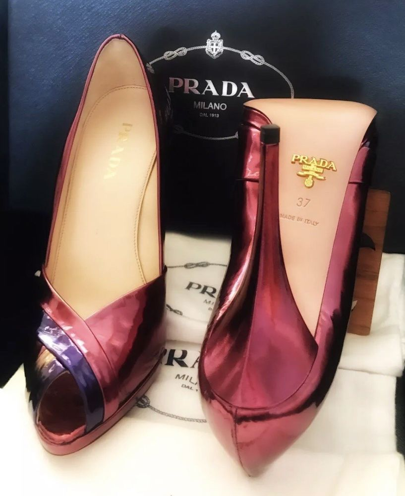 300db642483 ENDING SOON: Gorgeous PRADA Women's High Heel, Metallic Plum, Peep ...