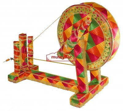 GIDDHA prop - PHULKARI decorated CHARKHA (size 2 5 ft