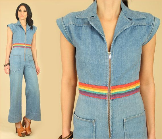 a59345e1f0e1 Vintage 70 s RAINBOW Denim Jumpsuit Faded Bell Bottom Jeans Wide Leg ...