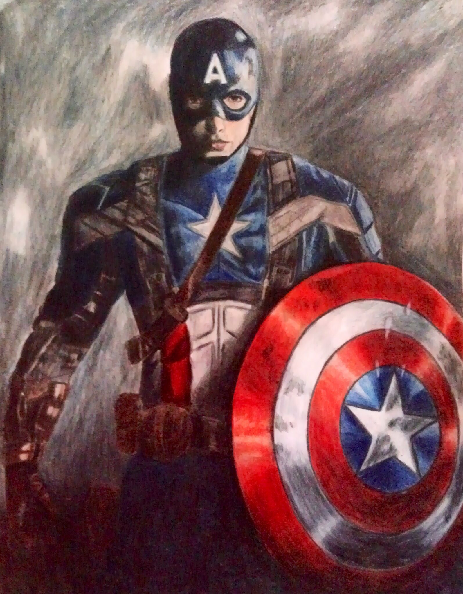 Captain America Color Pencil Drawing. #CaptainAmerica #Art #Drawings ...