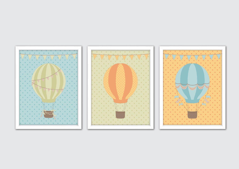 Hot Air Balloon Baby Wall Art, Hot Air Balloon Nursery, Blue Green ...