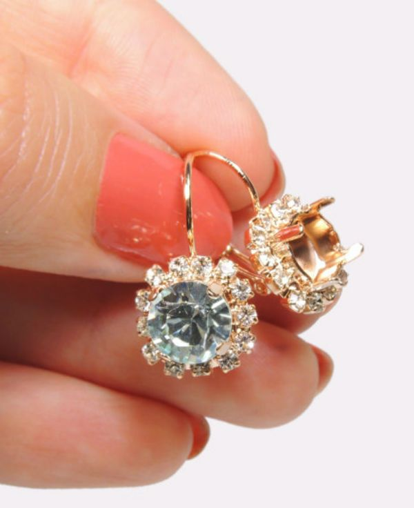 40fb58c961ec Round Rose Gold plated bezel lever back earrings base with clear crystal  Rhinestones