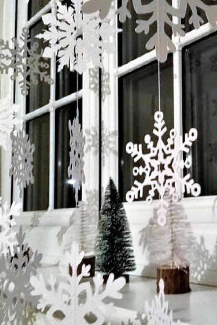 Christmas window decor   white christmas snowflake garland christmas decorations xmas