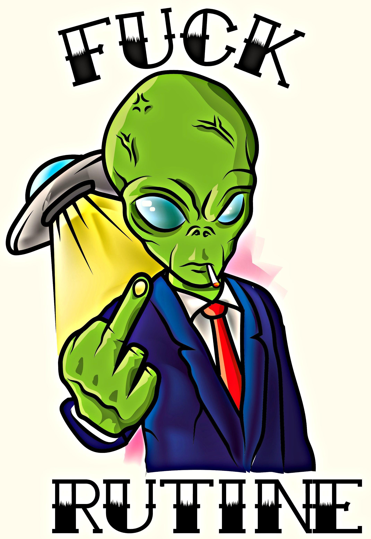 fuck rutine , ilustracion , jodida rutina , fuck off , alien