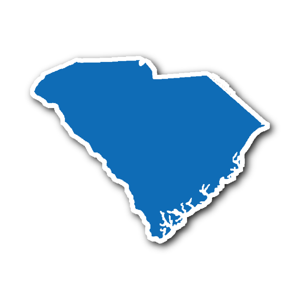 South Carolina State Shape Sticker Outline Blue State Shapes South Carolina Shapes