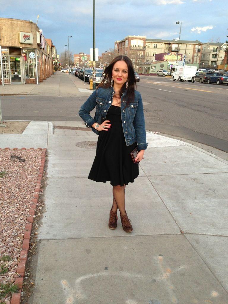 Jacket jeans with black dress