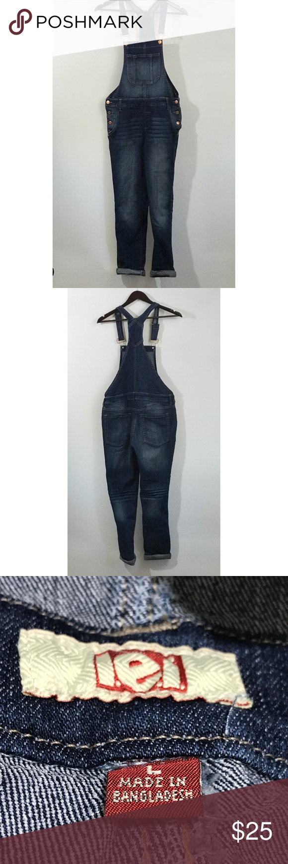 """LEI Kohl's Junior Large 9 11  Medium Wash Overall LEI Kohl's Junior Womens Sz Large L 9 11  Medium Wash Overalls Ankle Denim   Features: - rolled hem - 5 pocket - belt loops - factory distressing and whisking  Approximate measurements: waist: 30.5"""" inseam: 26"""" (rolled)  Condition: new with tags kohls Jeans Overalls"""