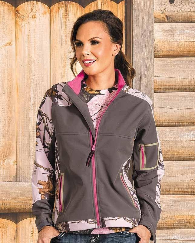 3e38d8b3fe0d2 Yukon Gear Women's Windproof Gray and Mossy Oak Pink Camo Soft Shell Jacket  - Mossy Oak Break-UP Pink camo Wind-proof Water resistant Tailored to fit  women ...