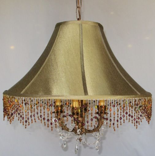 Swag lamp made from new silk beaded lamp shade plus