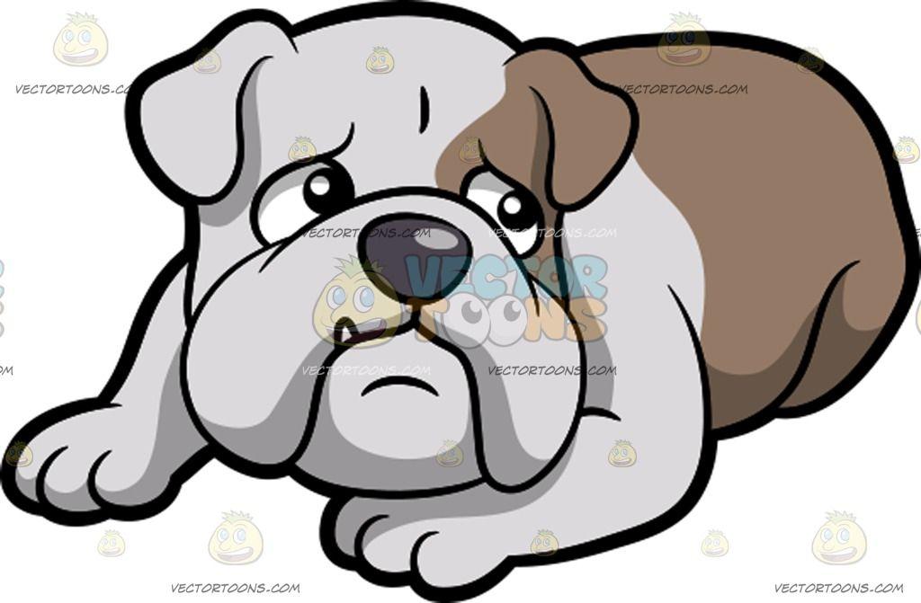 A Scared English Bulldog Bulldog Cartoon Cartoon Dog English