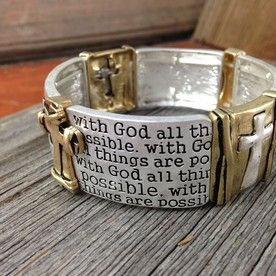 Matthew 19:26 Bracelet.  Mixed metal cuff stretches to fit most wrists. | DuctTapeAndDenim.net