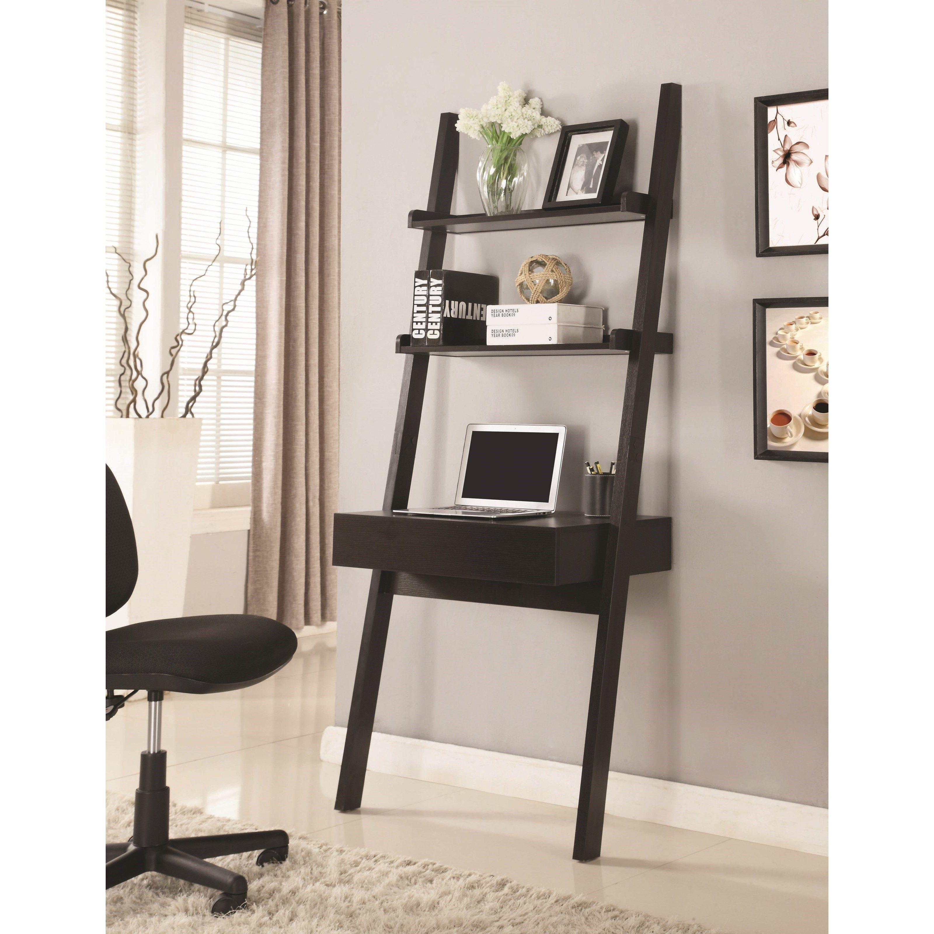 Coaster desks wallleaning writing ladder desk rooms furniture