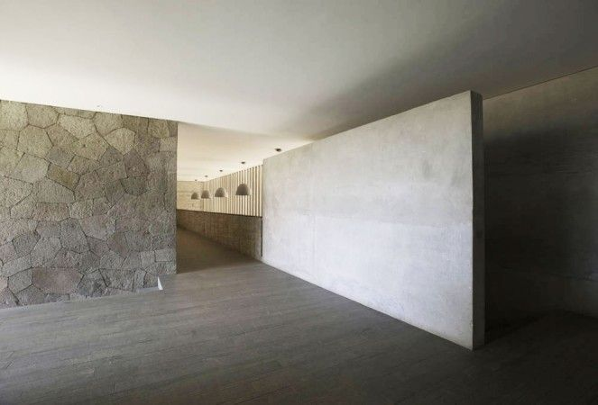 Architecture, Minimalist Interior Of La Pena House By R Zero Architects With Stone Wall And Concrete Floor ~ Awesome Wooden Home Concept Applied Elegantly and Beautifully