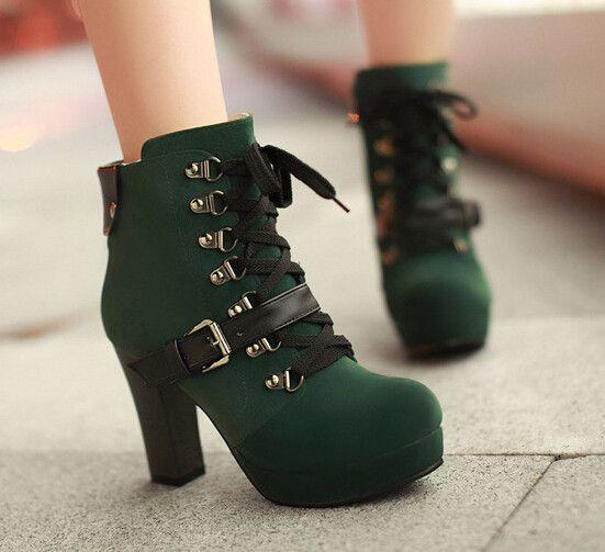 Women fashion high-heeled martin boots