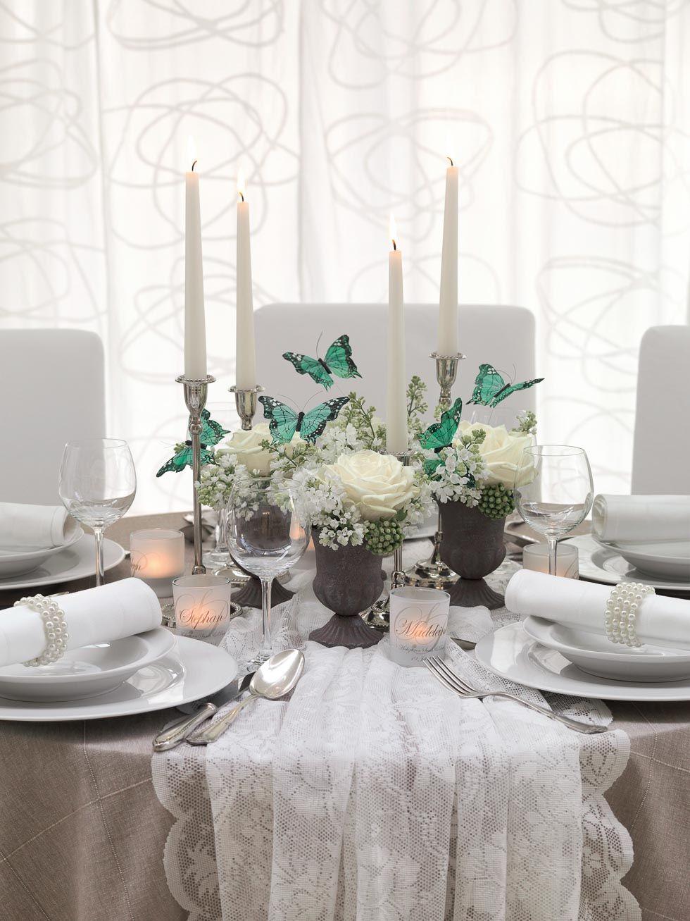 Hochzeitskonzept Downton Abbey Vintage Tischdekorationen