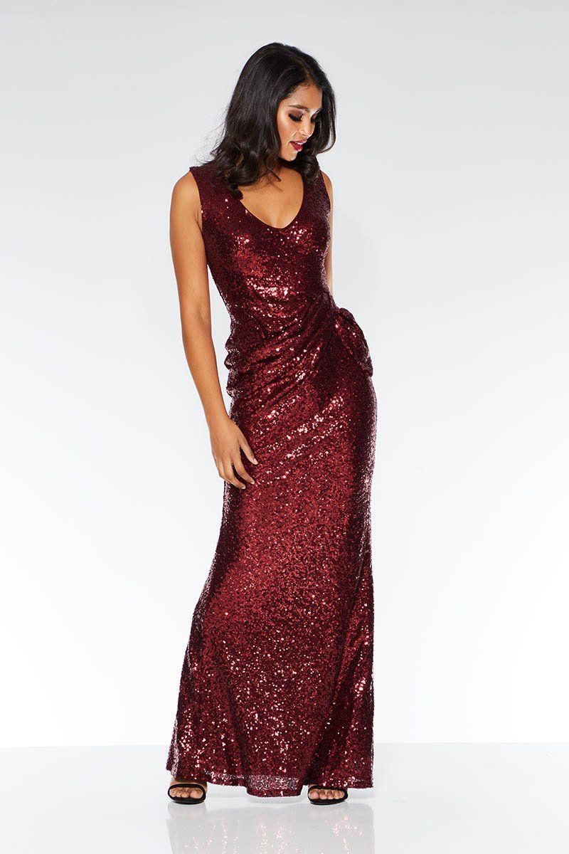 cc32f88f Wine Sequin V Neck Maxi Dress in 2019 | possible dresses long ...