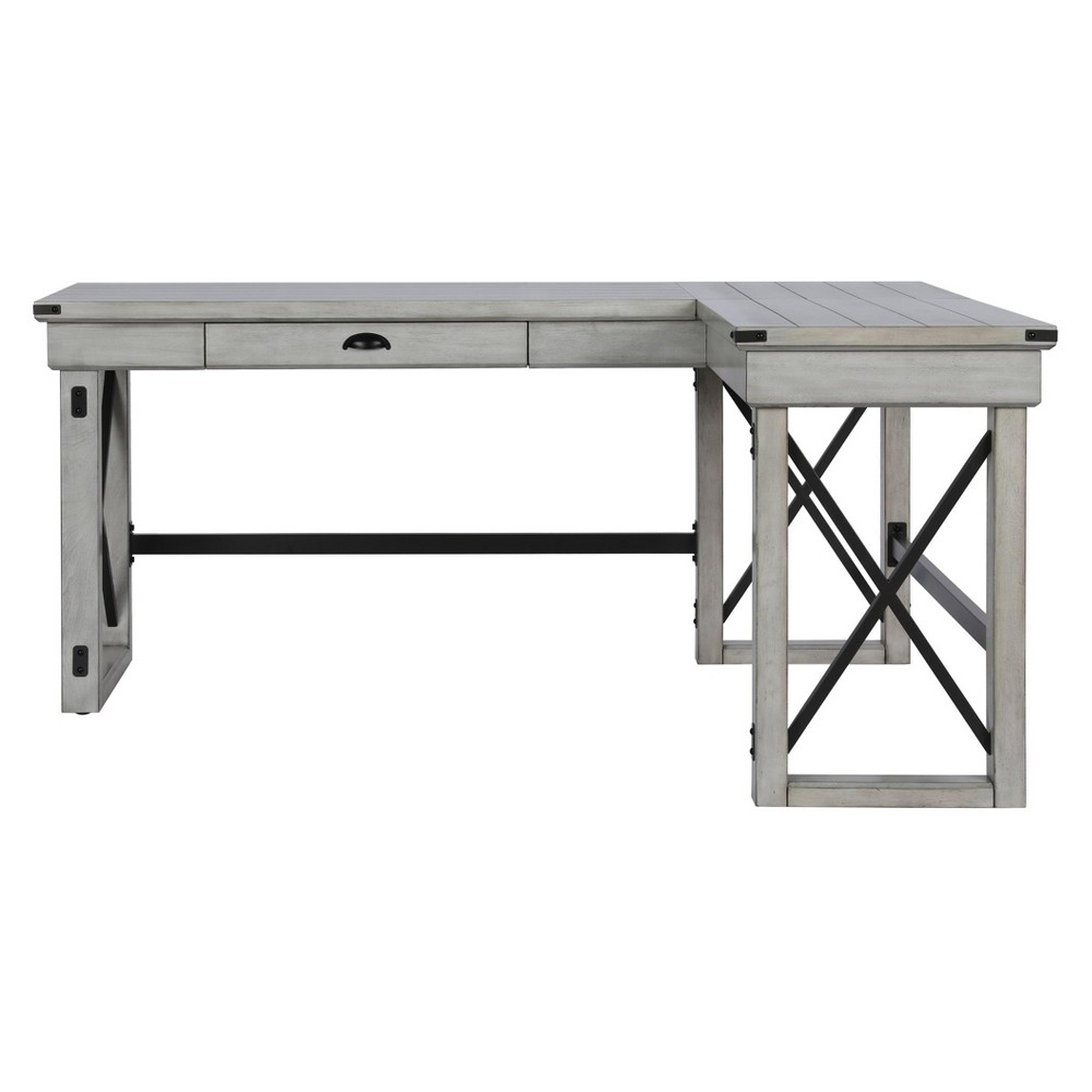 Hathaway L Shaped Desk With Lift Top Rustic White Room Joy Adult Unisex L Shaped Desk Rustic White Grey Room