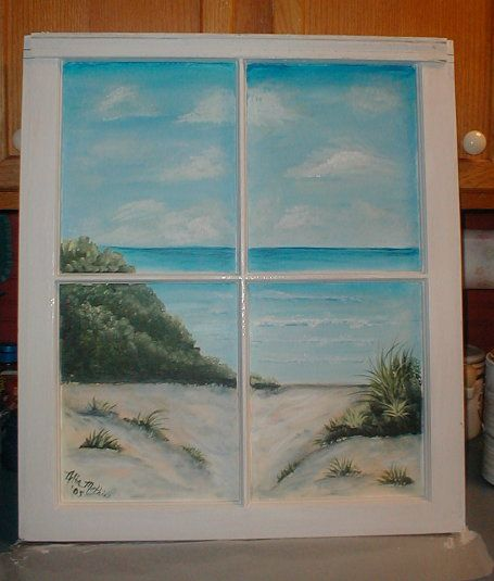 An old window and some paint and the beach is always in for Painting on glass windows with acrylics