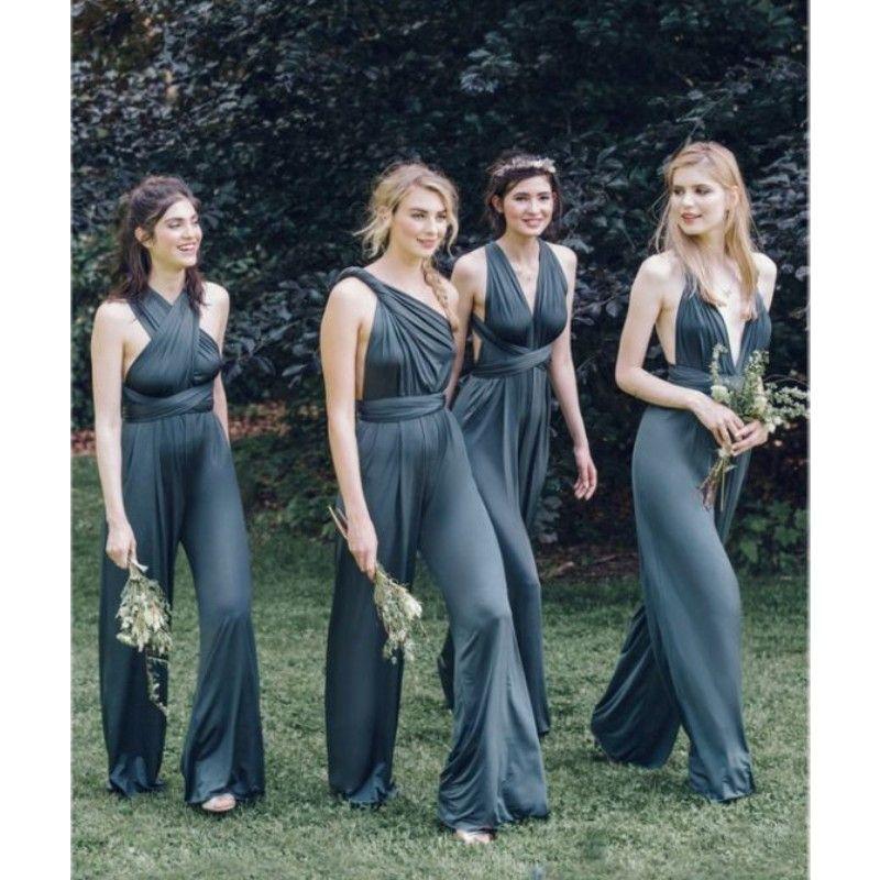 Click To New Design Convertible Bridesmaid Jumpsuits Chiffon Backless Country Bridesmaids