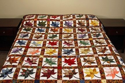 King Autumn Splendor Burgundy and Multicolor Amish Quilt For Sale | Amish Quilt Shop