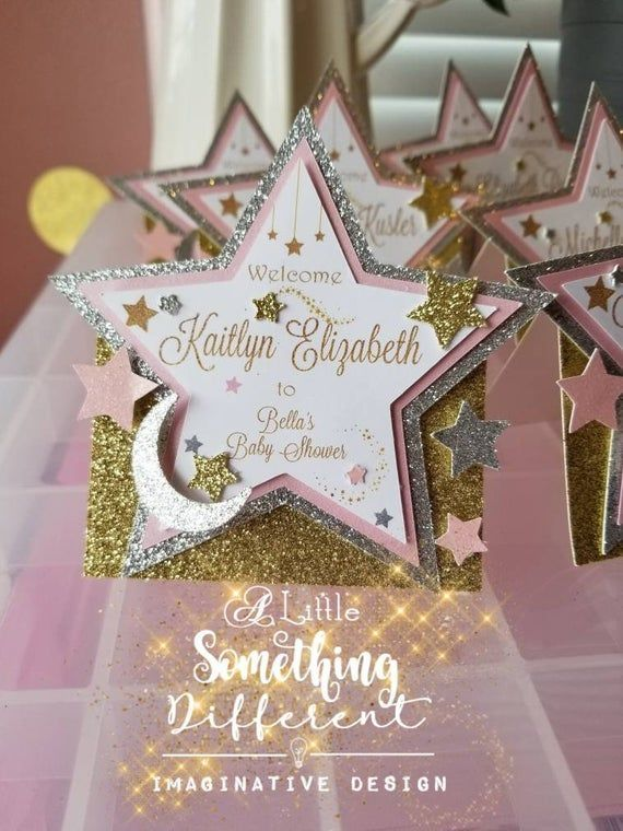 Twinkle Twinkle Little Star Baby Shower Decorations Place Cards / Star Baby Shower Party Supplies / Love You to the Moon and Back / Decor - -