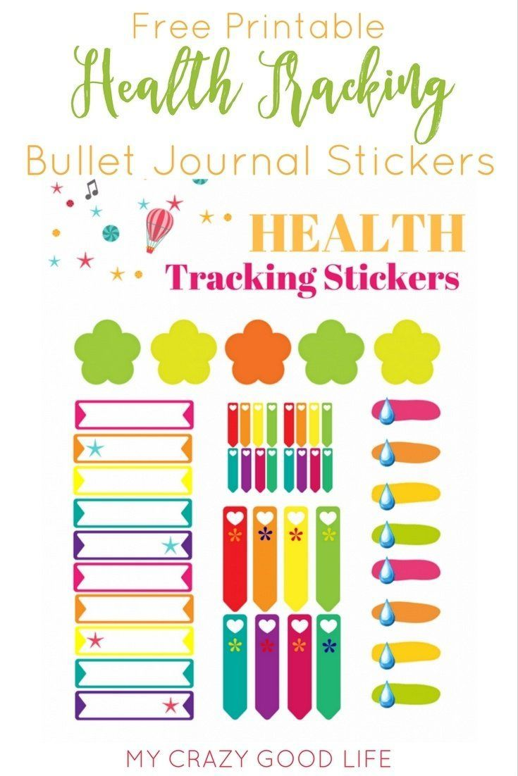These free printable health and fitness bullet journal stickers can be printed on sticker paper and used to monitor your fitness goals in your bullet journal!