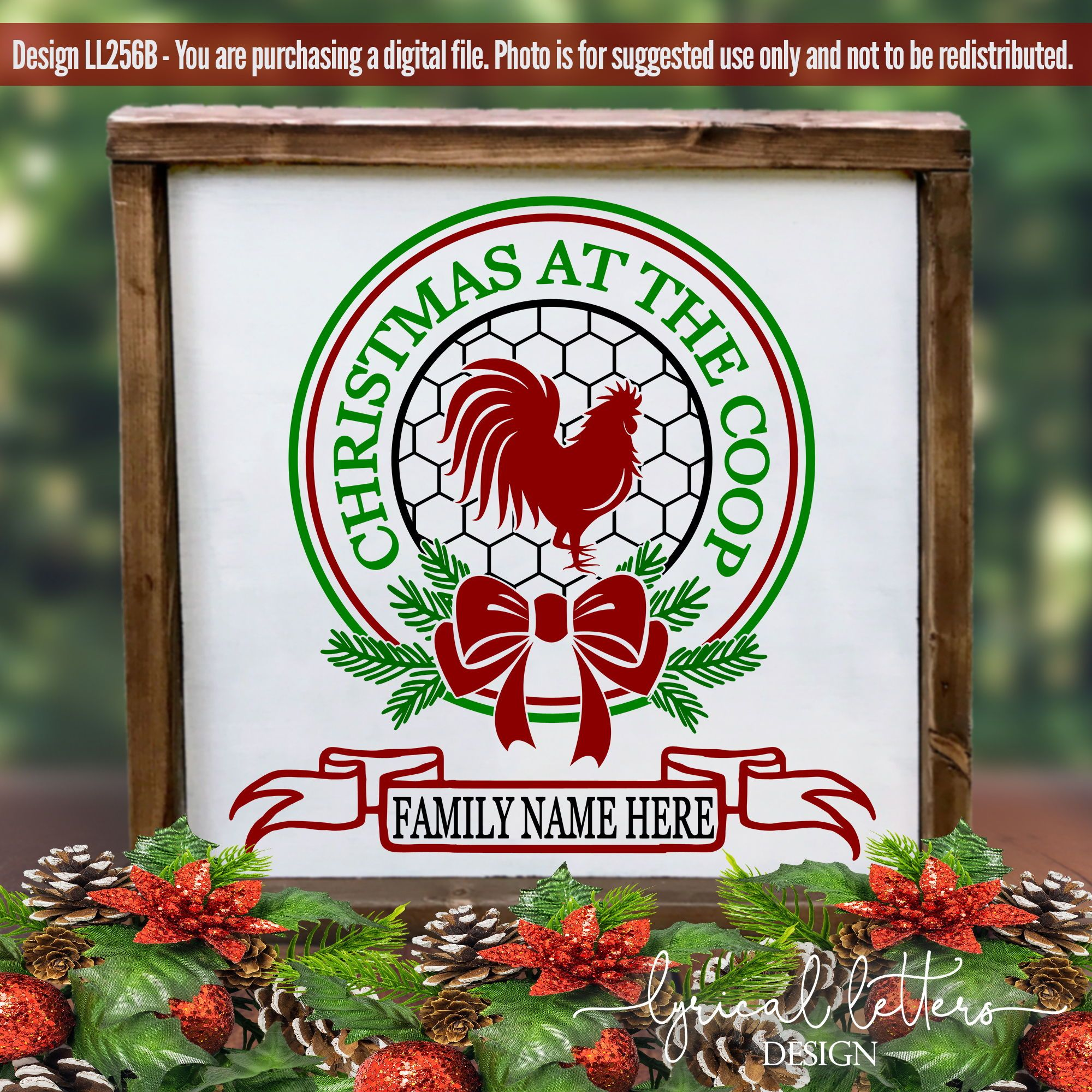 Farmhouse Christmas at the Coop SVG DXF LL256B Christmas