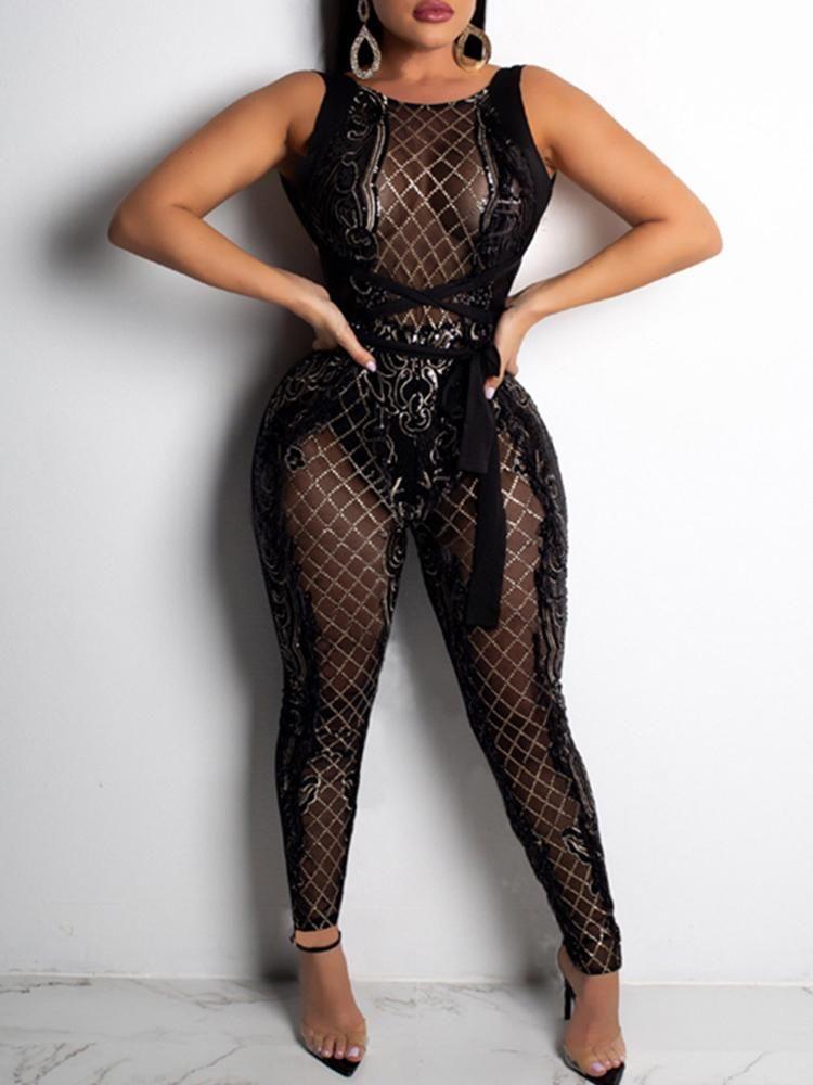 2d87bd195b2b10 Glitter Sheer Crisscross Back Slinky Jumpsuit #black jumpsuit outfit dressy  wedding #black jumpsuit outfit