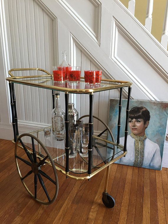 Rolling Bar Cart Midcentury Hollywood Regency C1950s Tea Br Metal Black Faux Bamboo Frame Gl Breakfast Nook Pinterest Carts And
