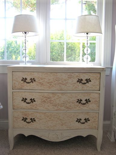 lace as a stencil Also pretty on stained wooden dresser with