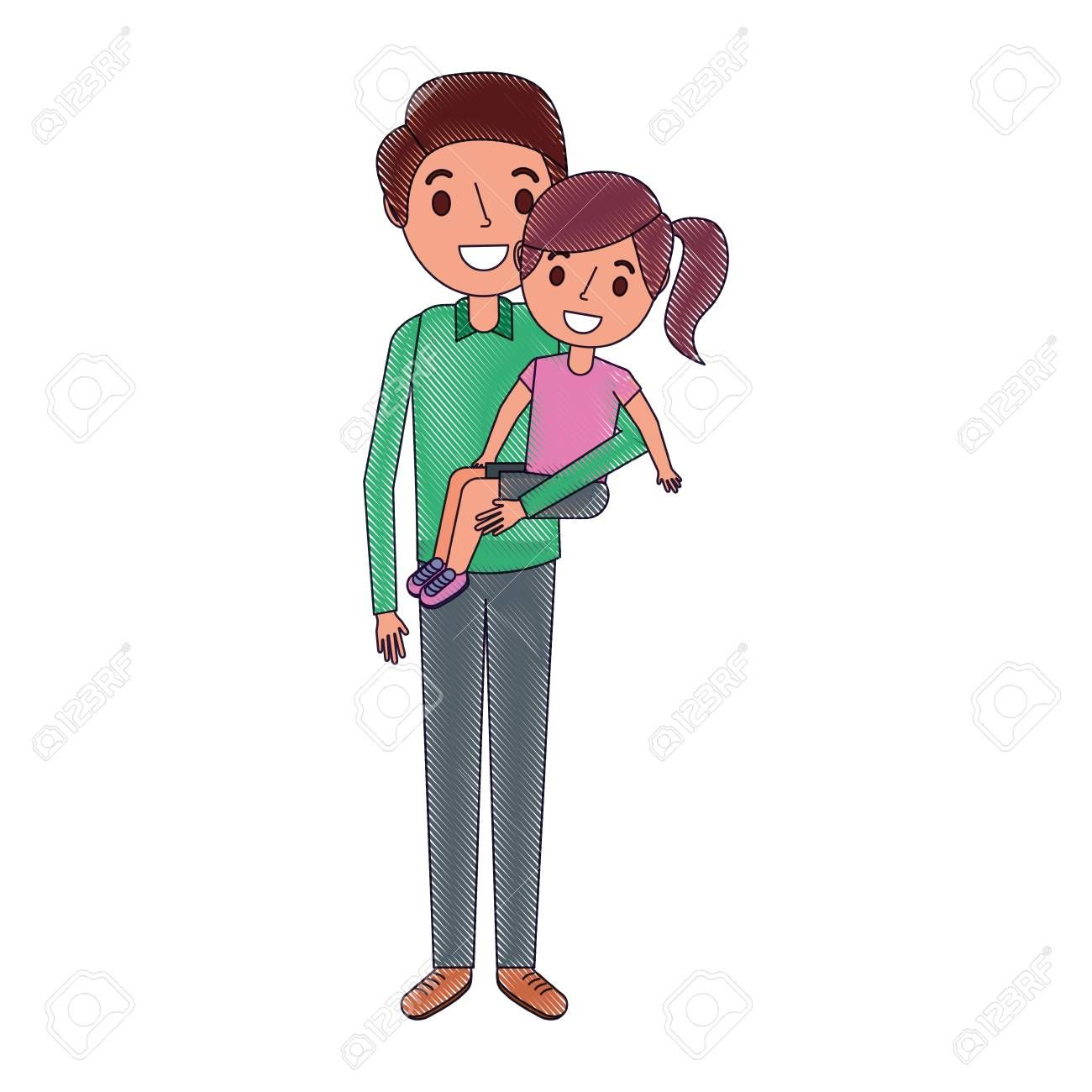 dad carrying their daugther child vector illustration , #AFF, #daugther, #carrying, #dad, #illustration, #vector