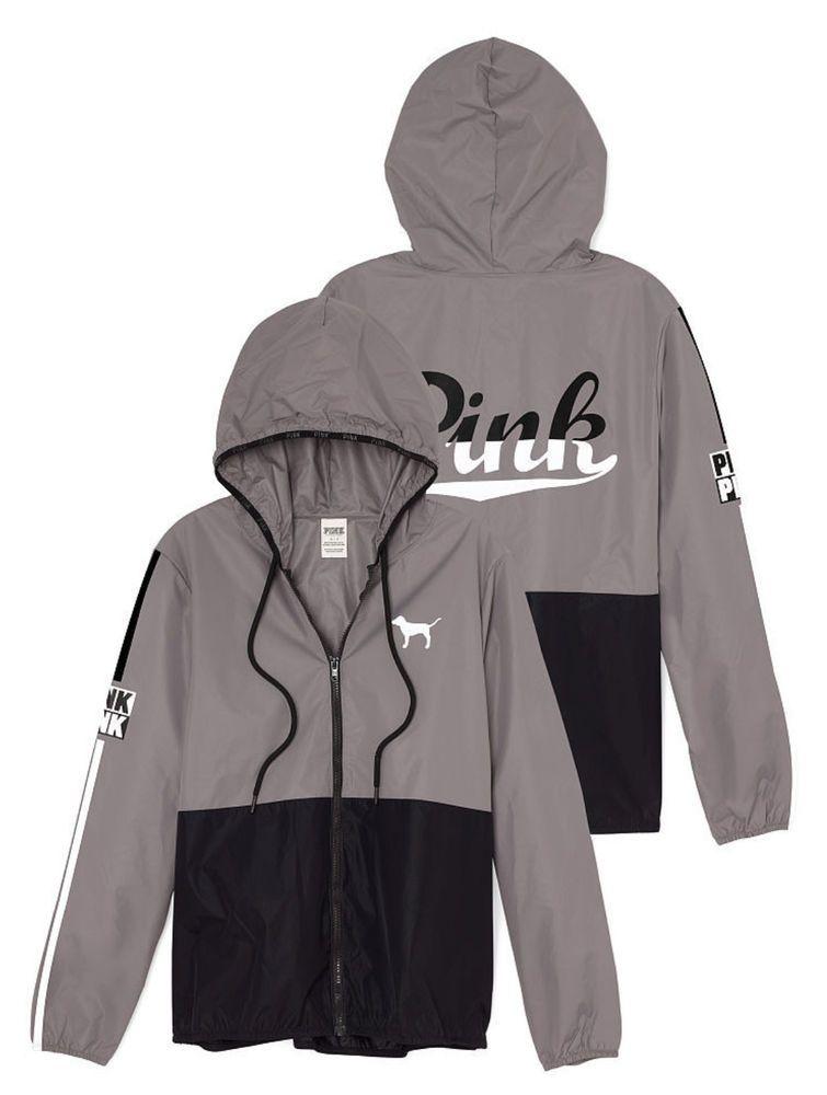 ae524e270d1af Victorias Secret PINK Anorak Full Zip Jacket Windbreaker Black/Gray ...