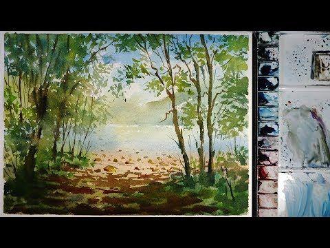 Watercolor Landscape Painting Riverside Lookout Point Youtube Landscape Paintings Watercolor Landscape Paintings Landscape Painting Tutorial