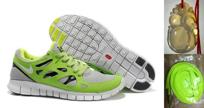 sports shoes 82521 f9228 Chalcedony Dragon Volt Lace Nike Free Run 2 Size 12 White Cool Grey Liquid  Lime Black