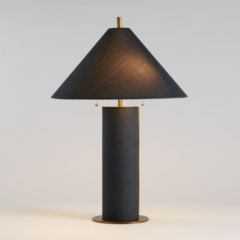 Remi Blue Linen Table Lamp Reviews Crate And Barrel In 2021 Table Lamp Lamp Crate And Barrel