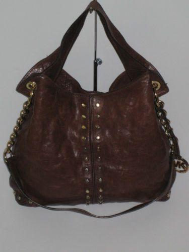 691dcd35cd6863 Michael Kors Astor Large Stud Satchel Shoulder Handbag Brown Leather MSRP  $398 | eBay
