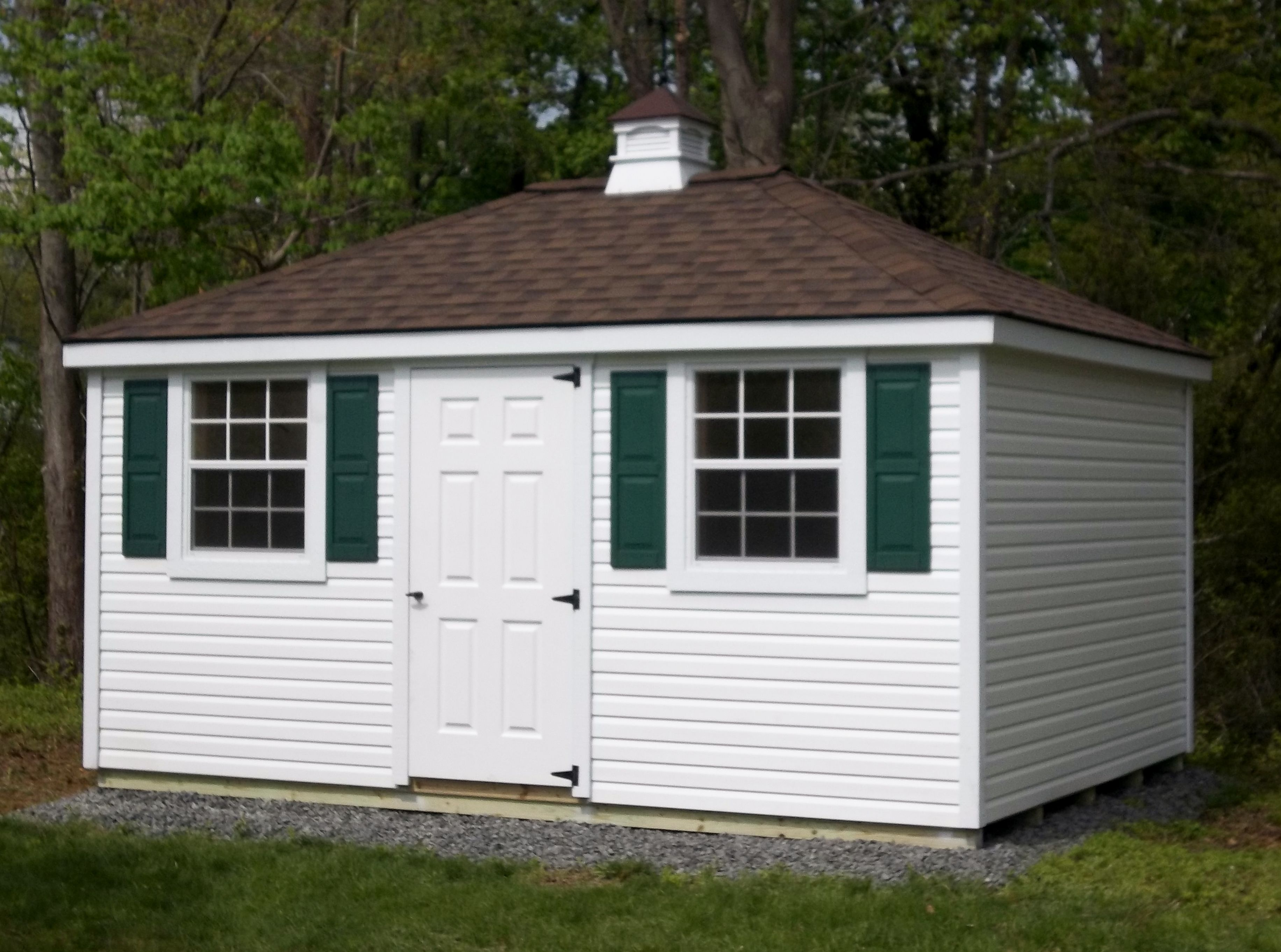 Deluxe with dormer transom windows and cupola - This Cupola Is The Last Touch On This Beautiful Hip Roof Shed
