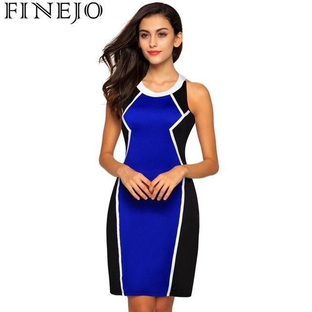 Casual 2018 Summer O-Neck Backless Dress Sleeveless Patchwork Contrast Color Mini Party Short Dress Vedtidos Blue L #shortbacklessdress