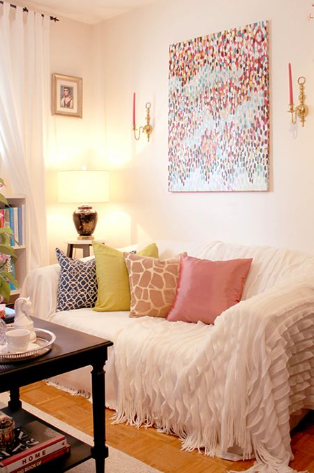 Living Room Covers 3 Piece Tables Cover Ugly Loveseat With Drop Cloth And Add Decorative Pillows