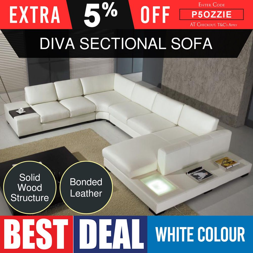 Sofa Sectional 6 Seater Lounge Suite Bonded White Leather With