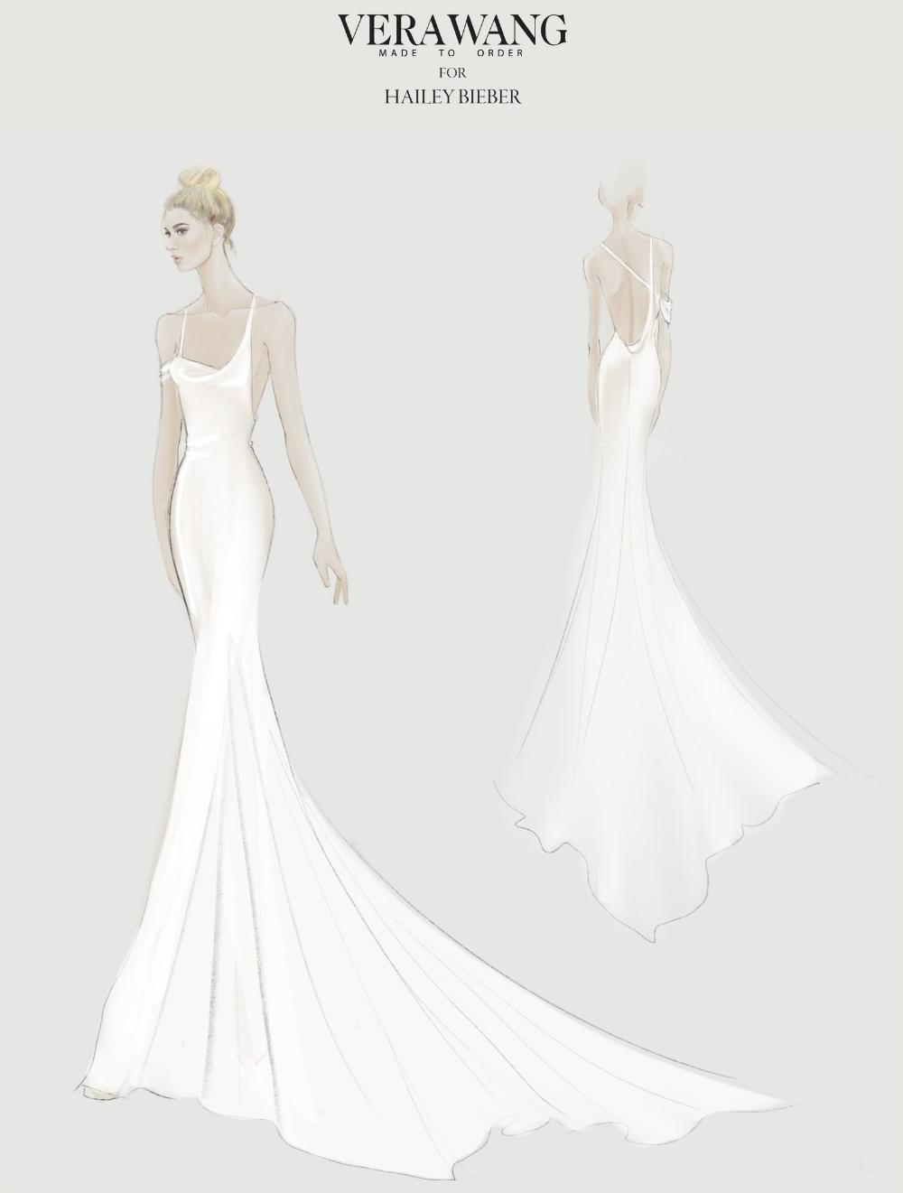 All The Details Behind Hailey Bieber S Vera Wang Wedding Reception Dress In 2020 Wedding Dress Sketches Wedding Dress Illustrations Wedding Reception Dress