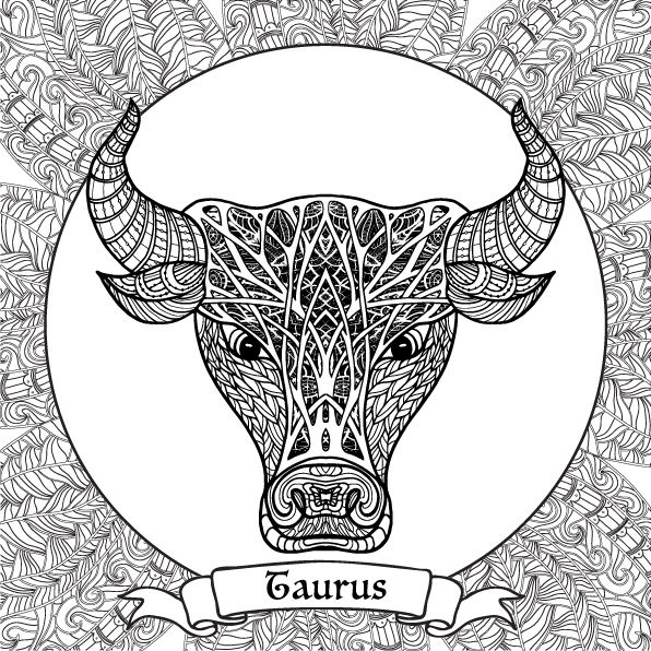 Coloring Book For Adult And Older Children Page With 12 Zodiac Signs Outline