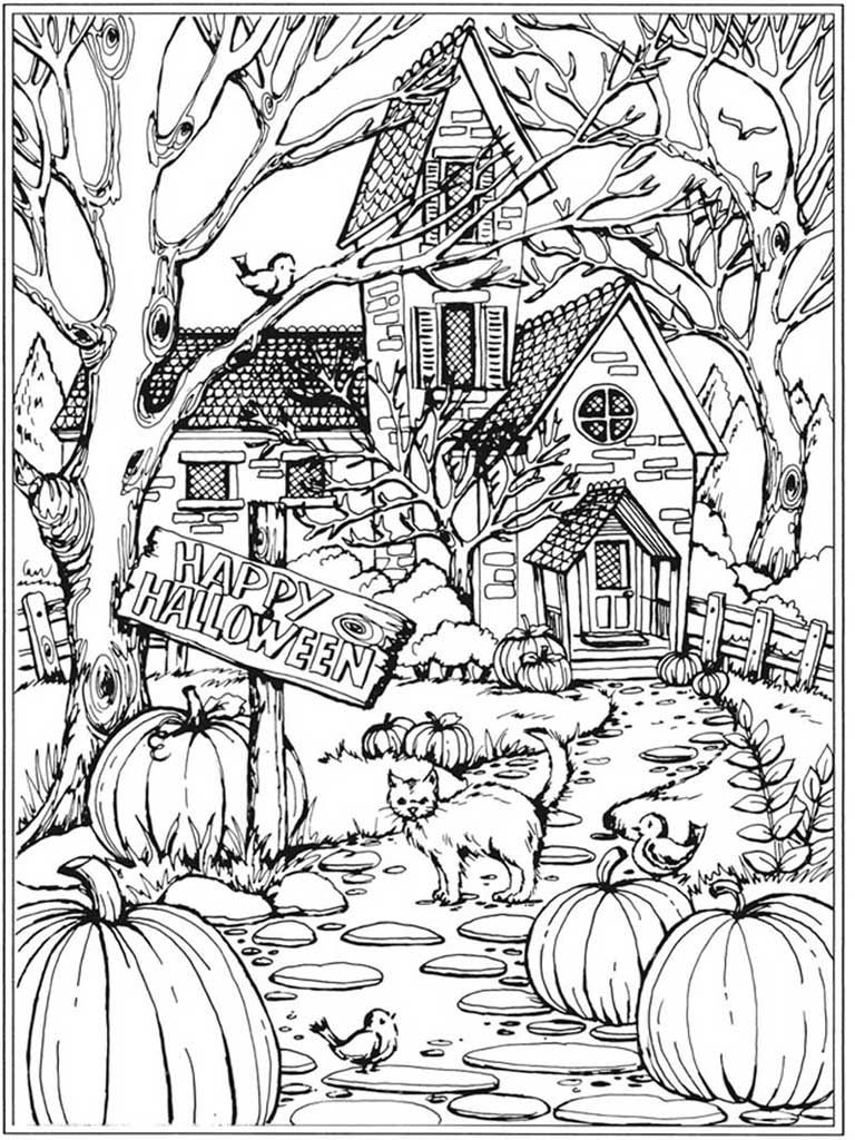 Hard Challenging Coloring Pages Of Haunted Castle For Adults Castle Coloring Page Halloween Coloring Sheets Halloween Coloring